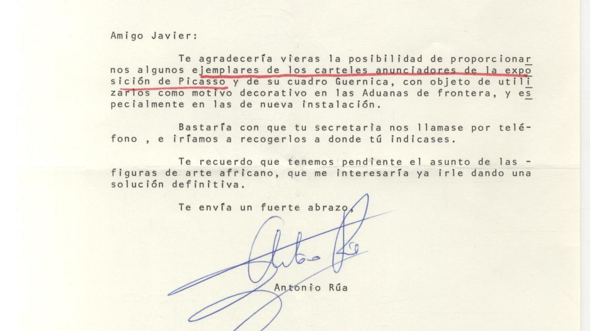 Carta de Antonio Rúa a Javier Tusell