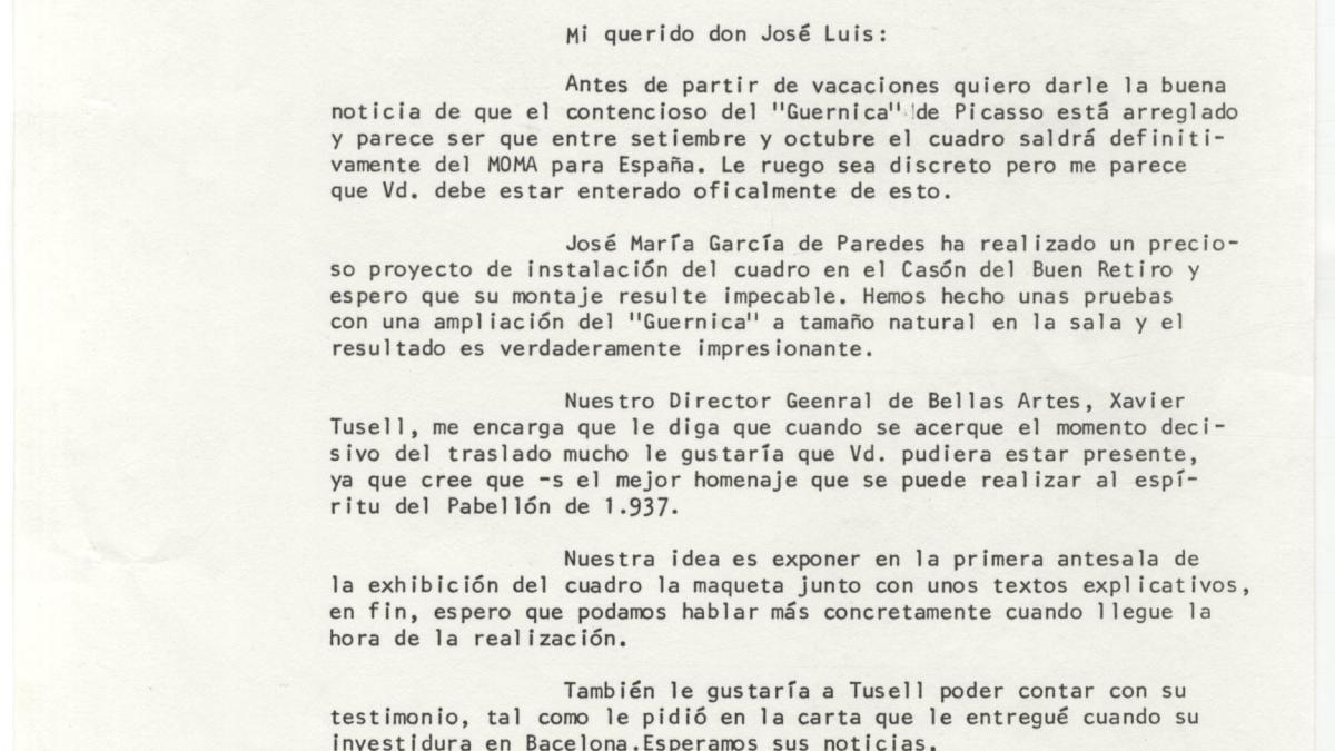 Álvaro Martínez Novillo's letter to Josep Lluís Sert, with reply