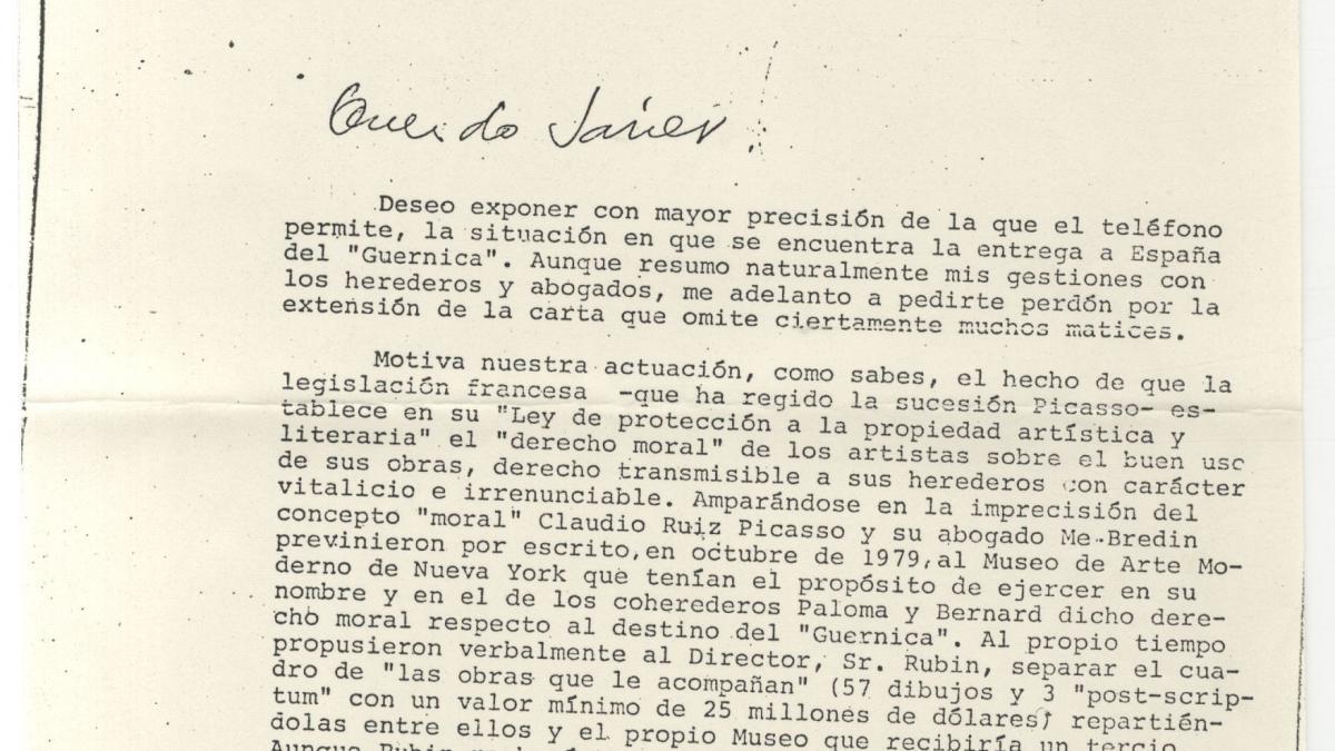 Carta de Rafael Fernández Quintanilla a Javier Tusell del 22 de noviembre de 1980