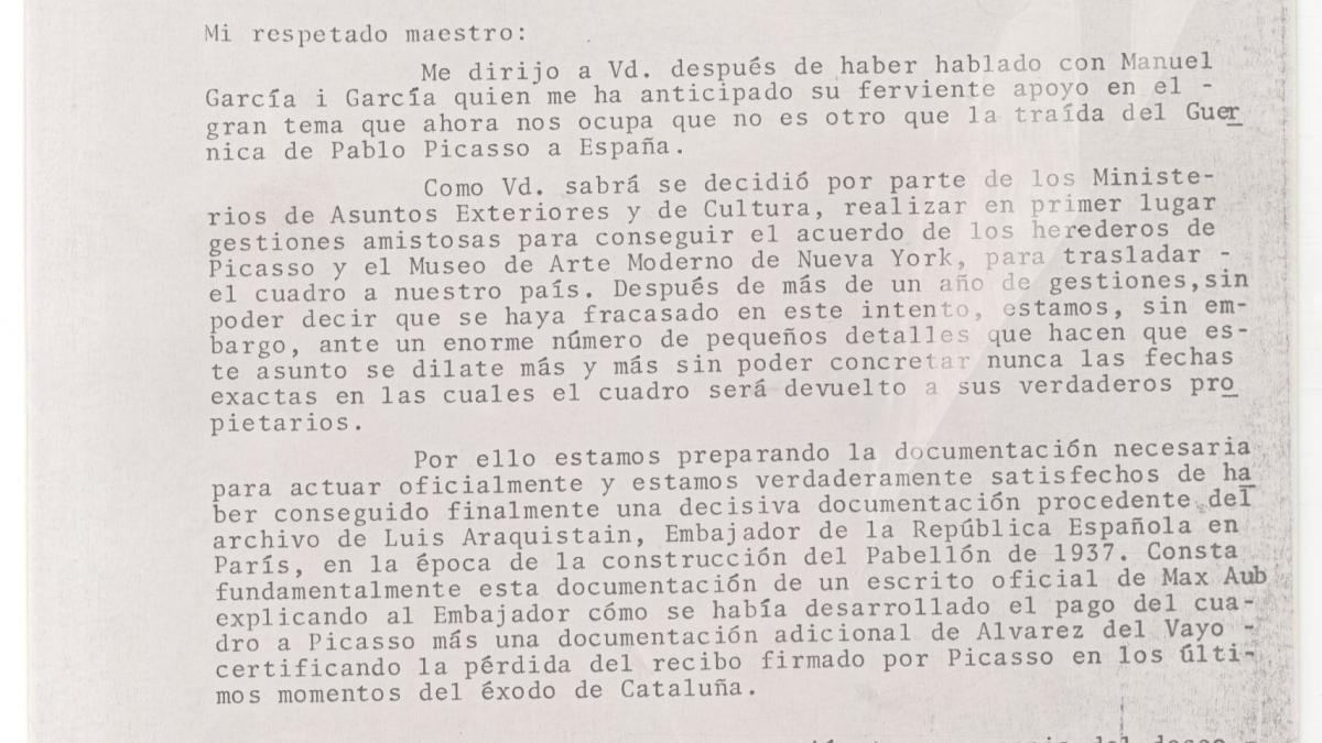 Carta de Javier Tusel la Josep Renau