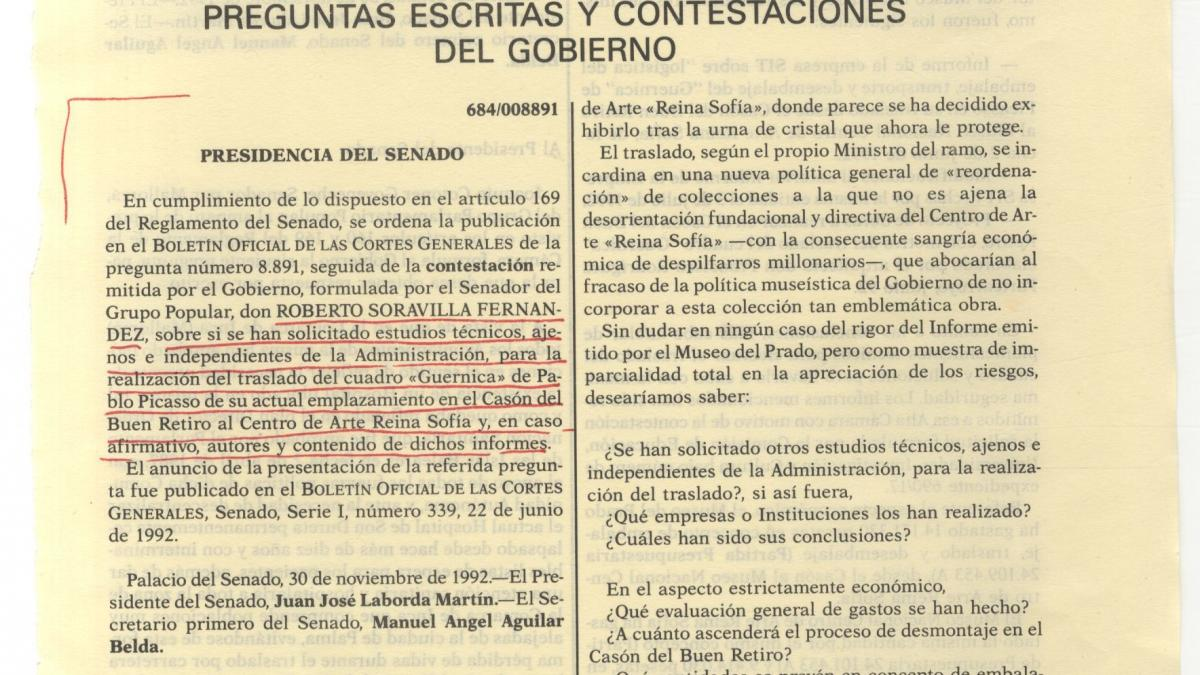 Official Bulletin of Spanish Parliament, dated 1 December 1992