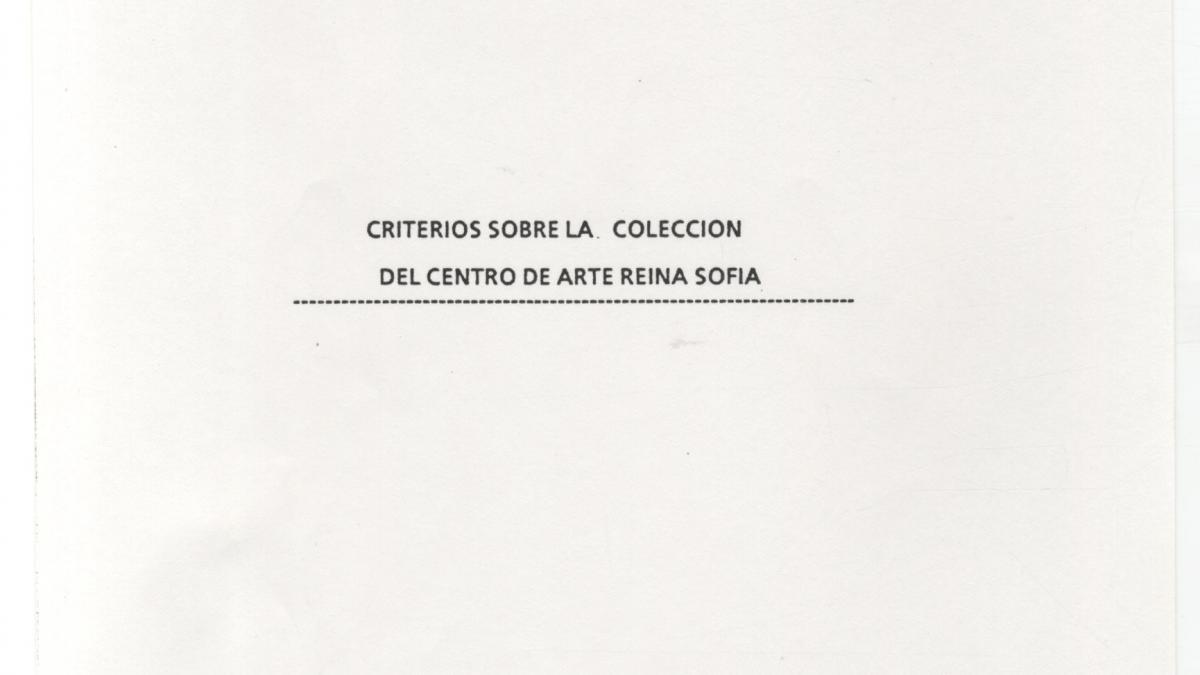 Criterios sobre la colección del Centro de Arte Reina Sofía