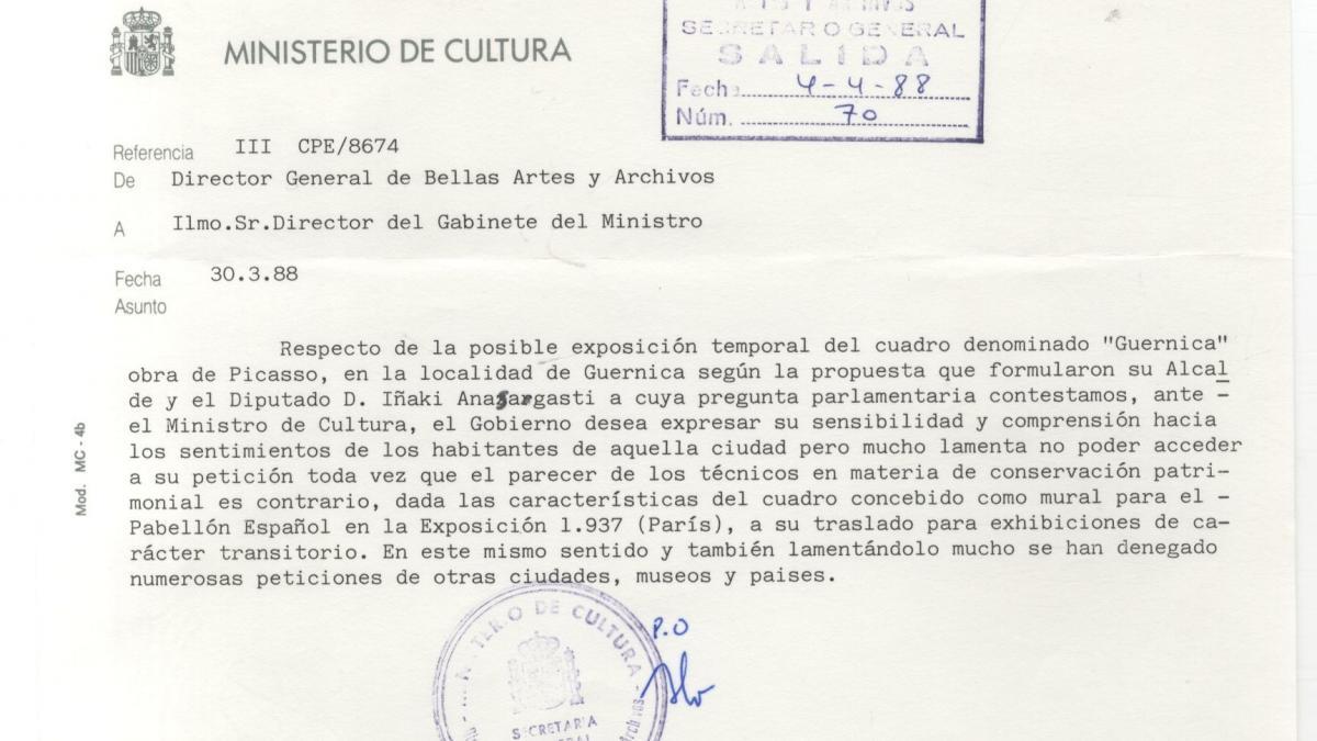 Carta del director general de Bellas Artes al Gabinete del ministro de Cultura