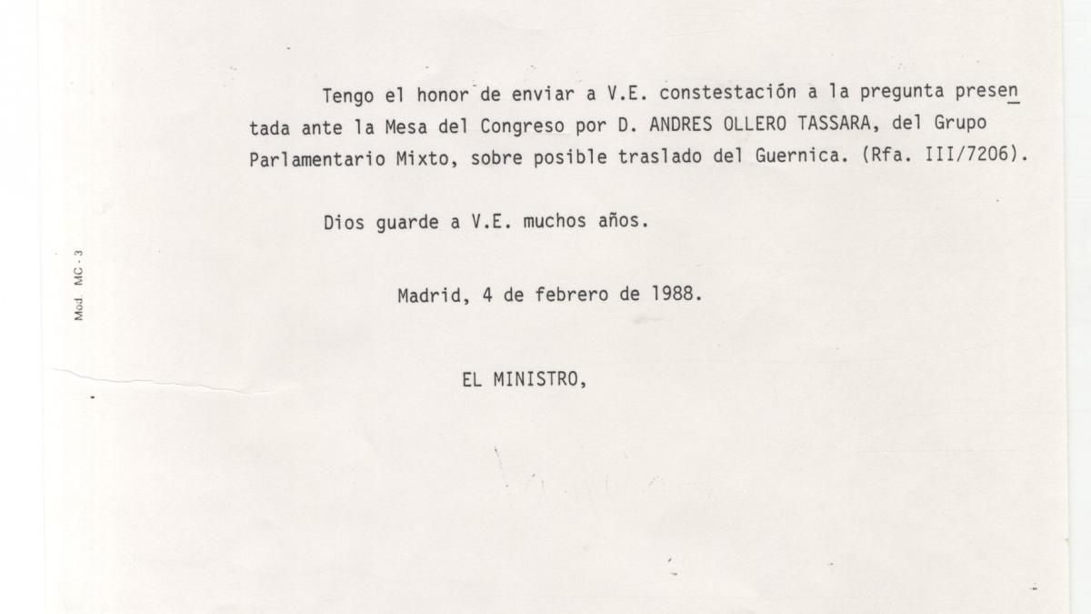 Reply from Spain's Ministry of Culture regarding the questions put forward by Andrés Ollero in the Congress of Deputies