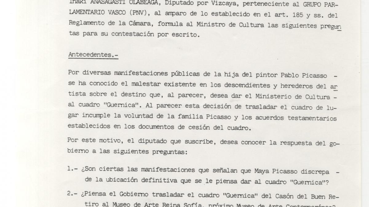 Preguntas de Iñaki Anasagasti al Congreso de los Diputados