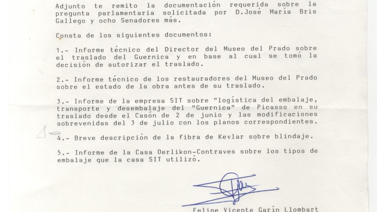 Solicitud del Senado de un informe de viabilidad sobre el traslado de Guernica