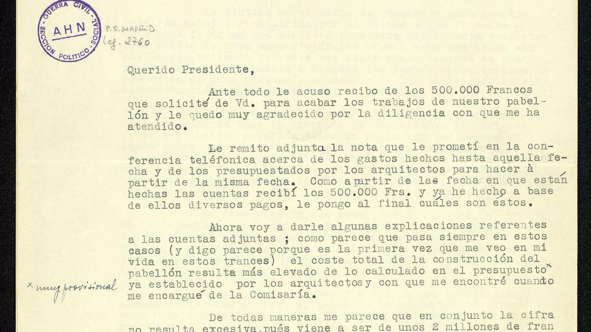 Carta de José Gaos a Juan Negrín