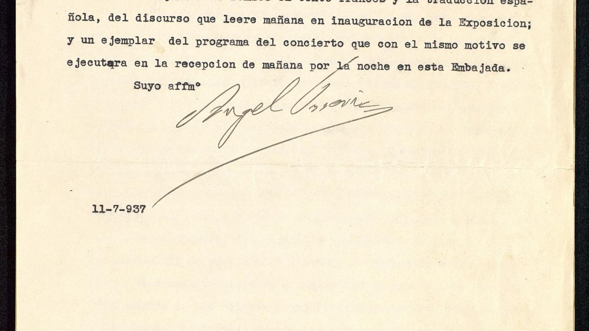 Discurso de inauguración del Pabellón de España