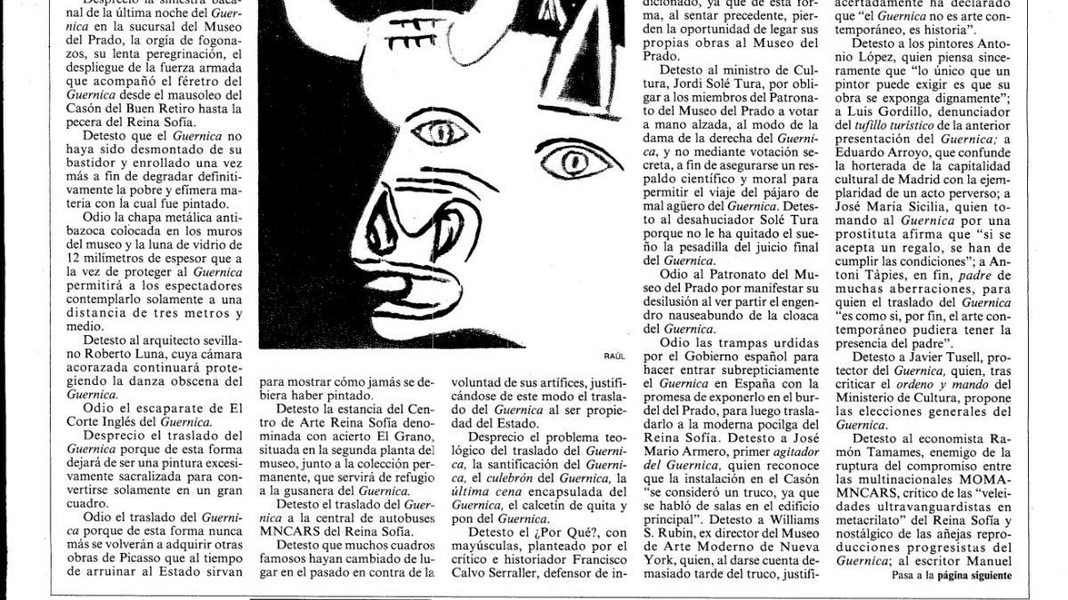 Réquiem para el Guernica, artículo aparecido en El País