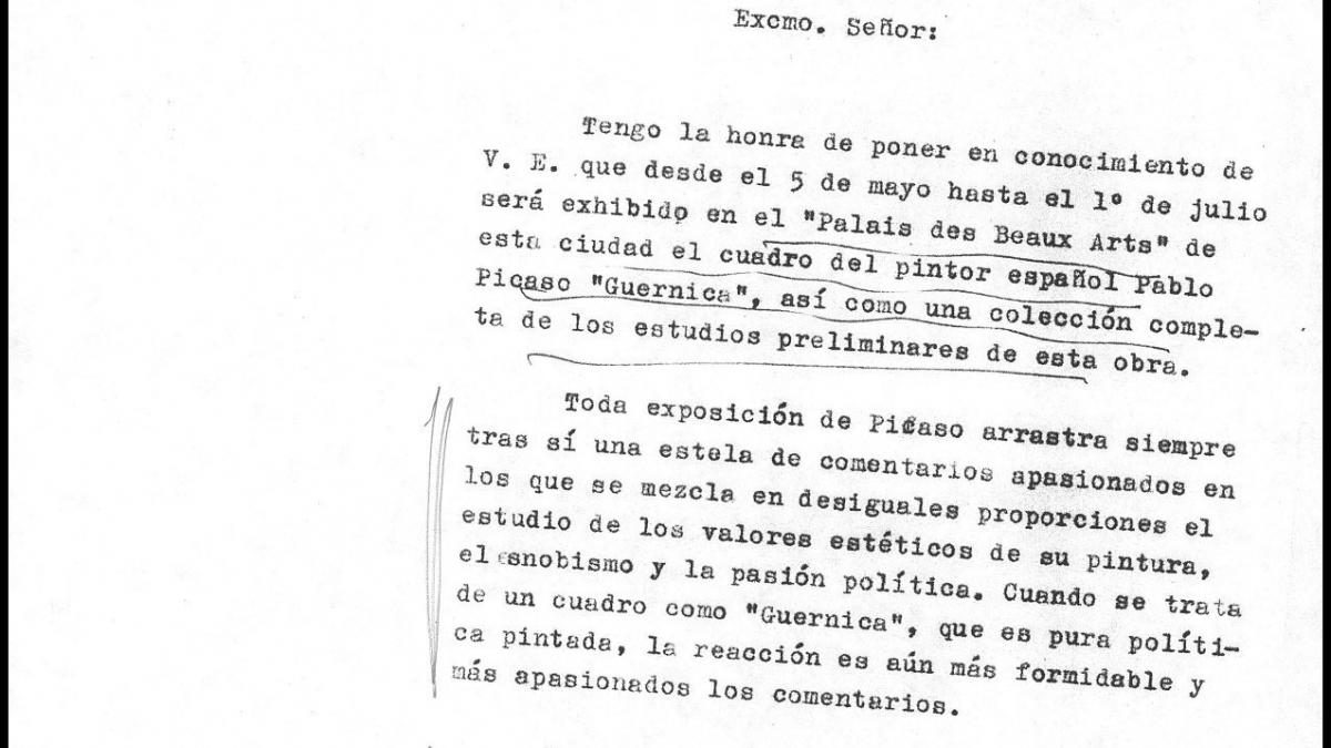 A letter from the Spanish ambassador in Belgium to Alberto Martín-Artajo Álvarez