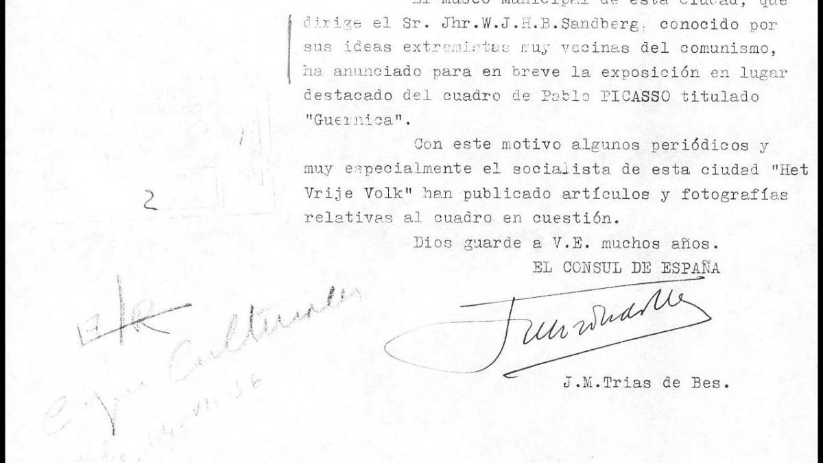 Carta de J. M. Trias de Bes a Alberto Martín-Artajo Álvarez