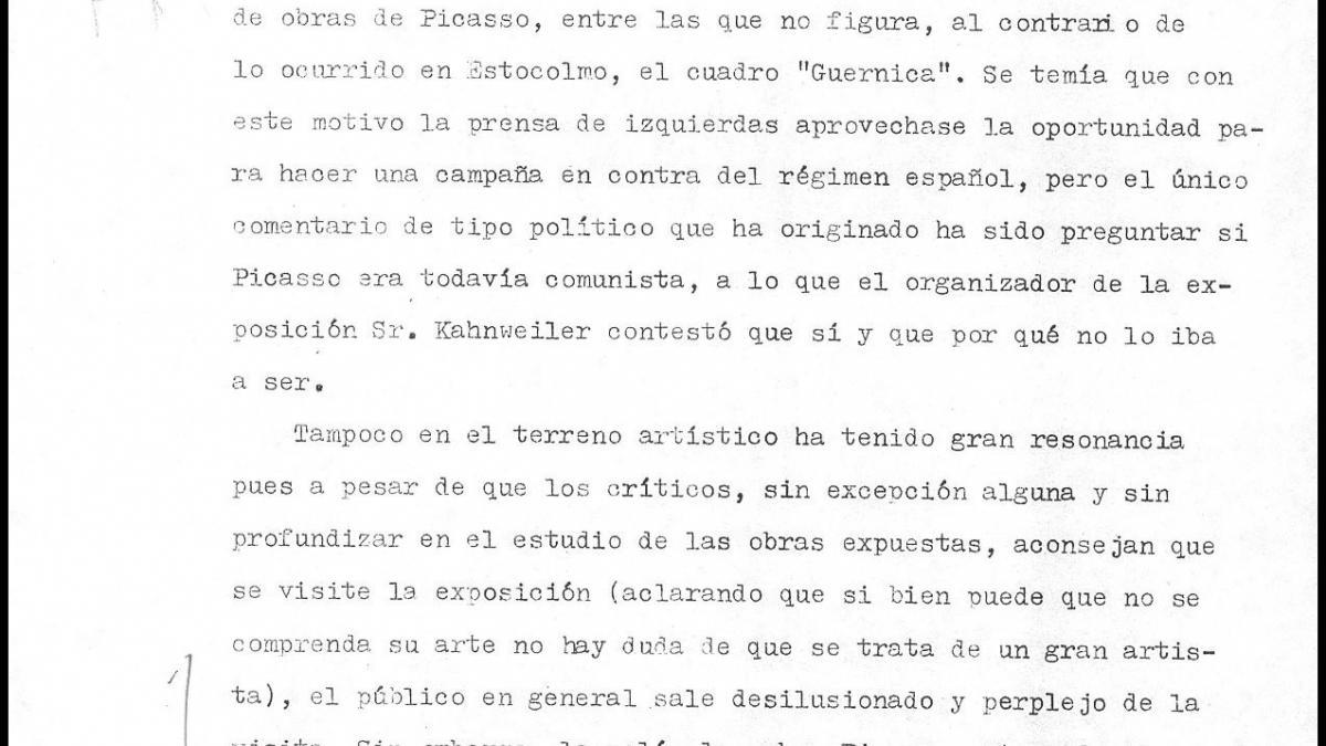 A letter from Miguel de Aldasoro to Alberto Martín-Artajo Álvarez