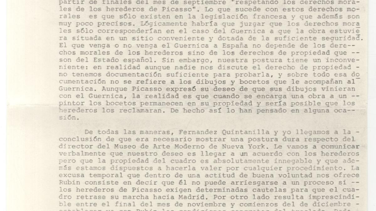 Informe sobre las negociaciones para el traslado de Guernica