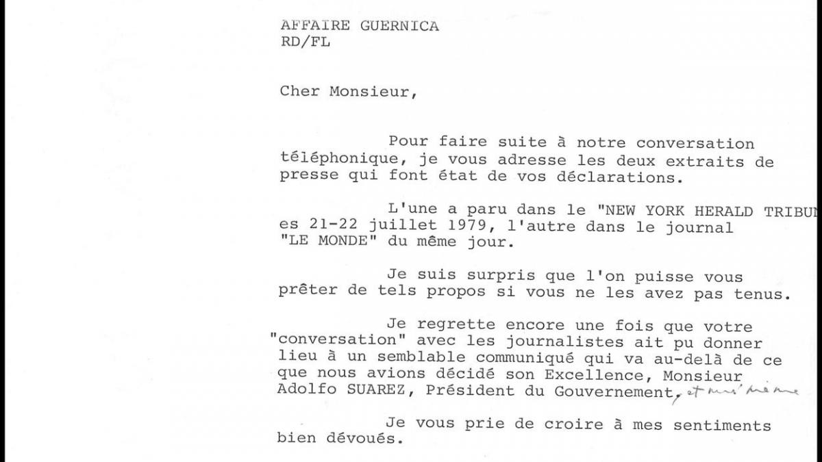 A letter from Roland Dumas to Javier Tusell