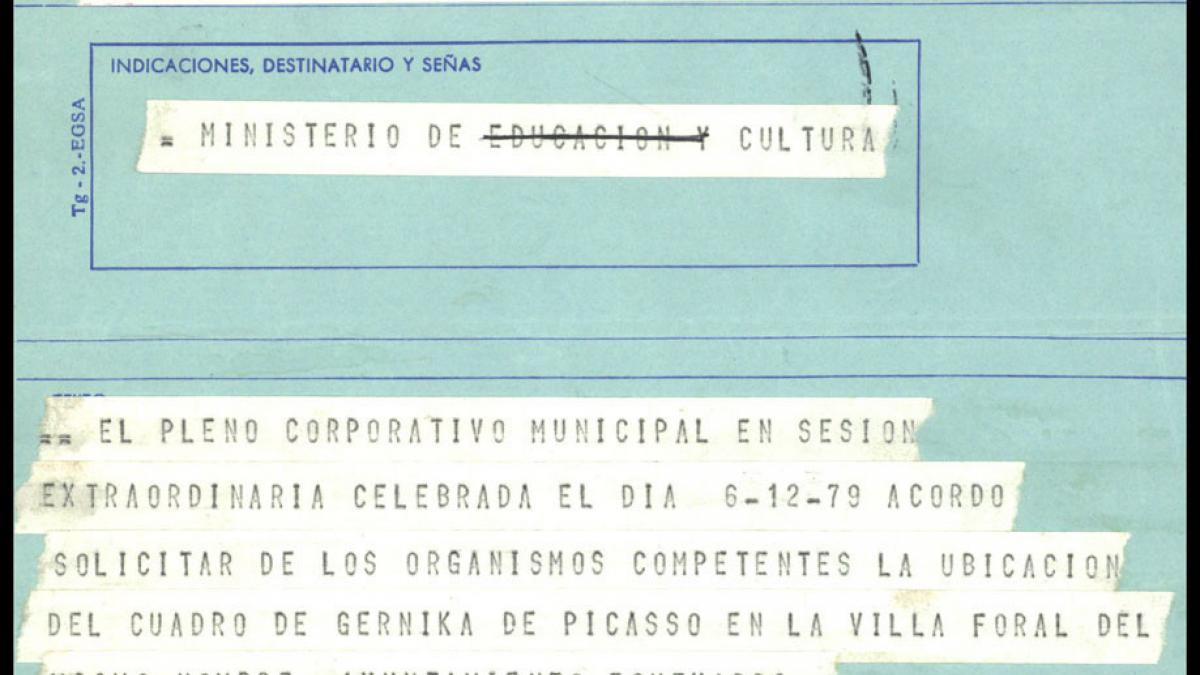 A telegram from the Etxebarri Town Council to the Ministry of Culture