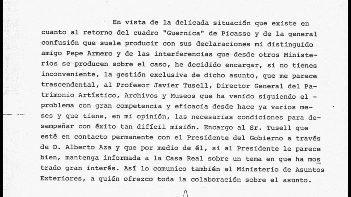 A letter from Ricardo de la Cierva Hoces to Adolfo Suárez