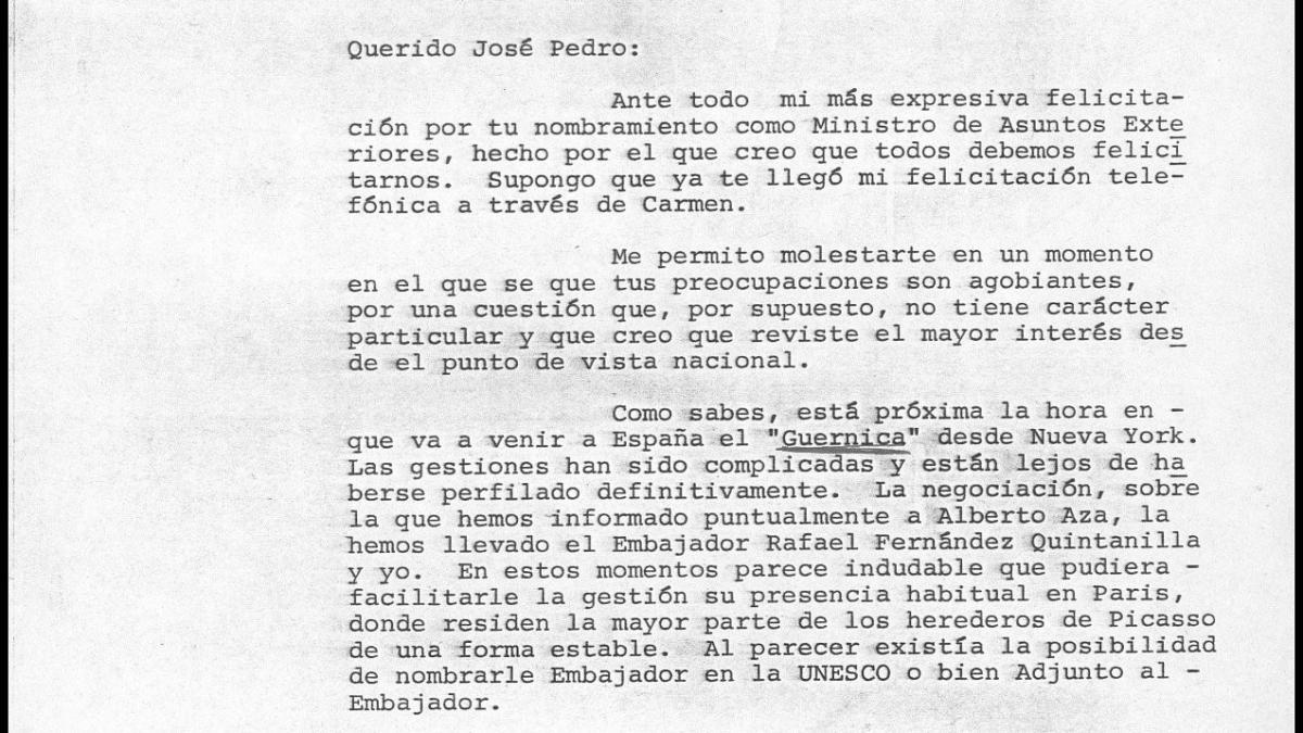 Javier Tusell's letter to José Pedro Pérez-Llorca