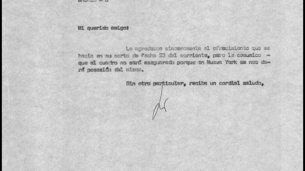 Carta de Alejandro de Muns a Javier Tusell y respuesta