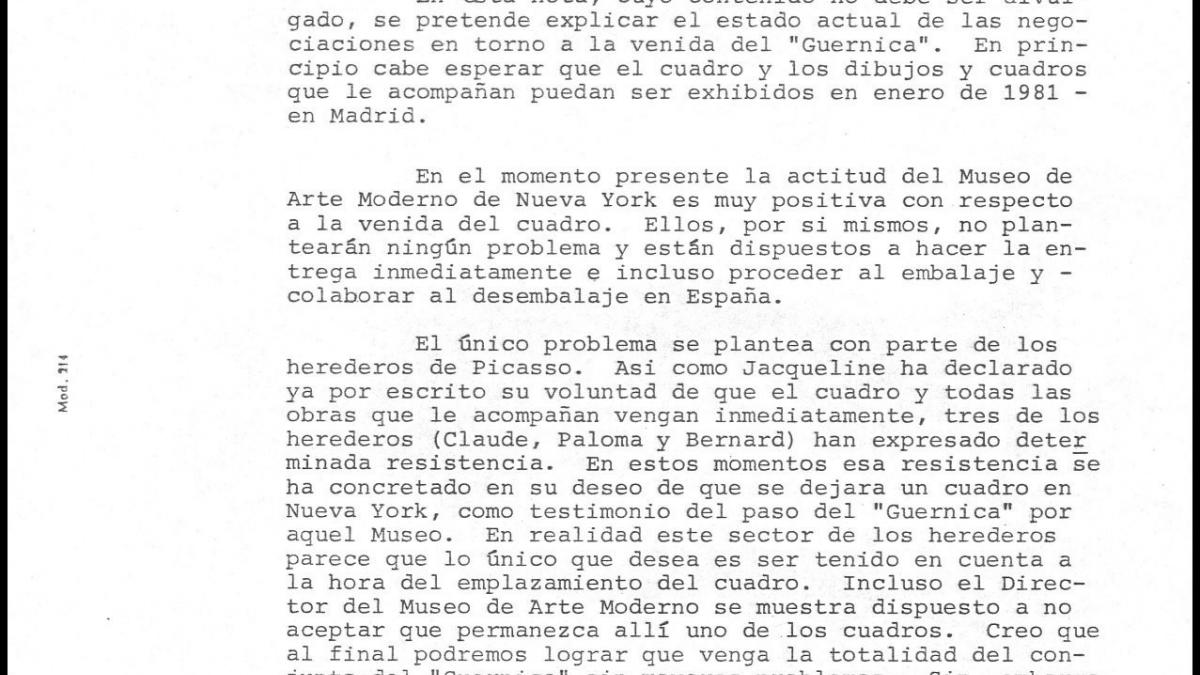 A confidential letter from Spain's Ministry of Culture regarding negotiations for  Guernica