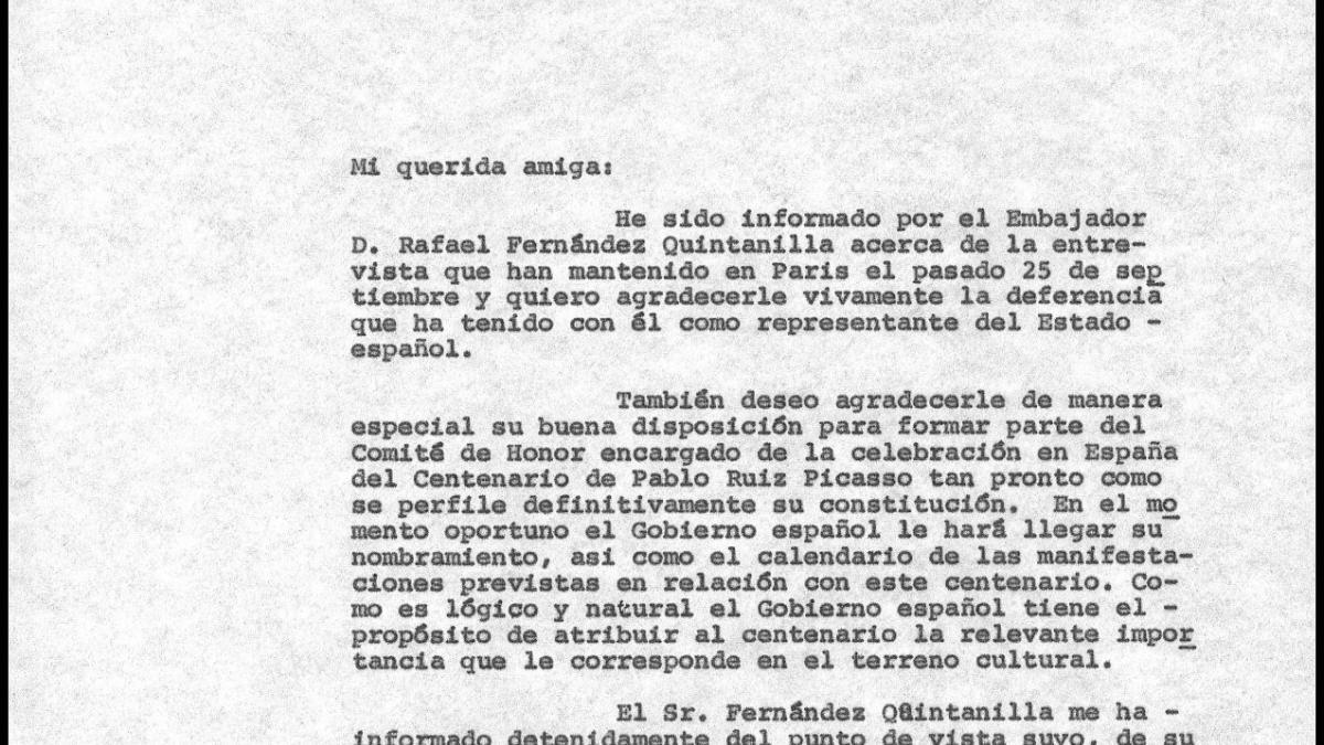 Carta de Javier Tusell a Paloma Picasso