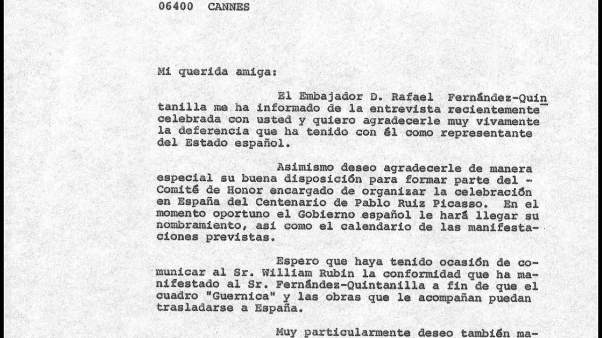 Carta de Javier Tusell a Marina Ruiz-Picasso