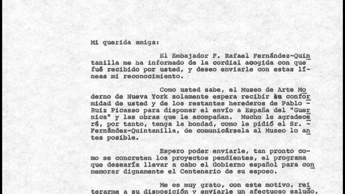 Carta de Javier Tusell a Jacqueline Picasso