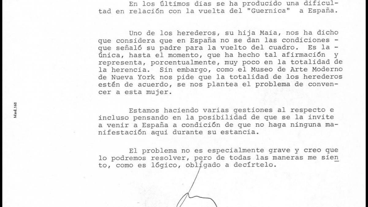 Nota interna de Javier Tusell a Íñigo Cavero