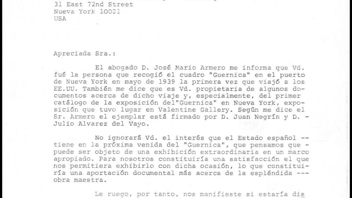 A letter from Íñigo Cavero to Blanche de Philip P. Weisberg (Blanche Mahler)