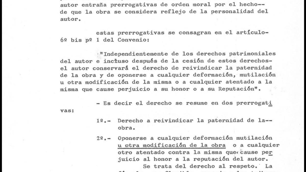 Report by the Management Board of Artistic Heritage, Archives and Museums on the moral rights and legislation with regard to Guernica