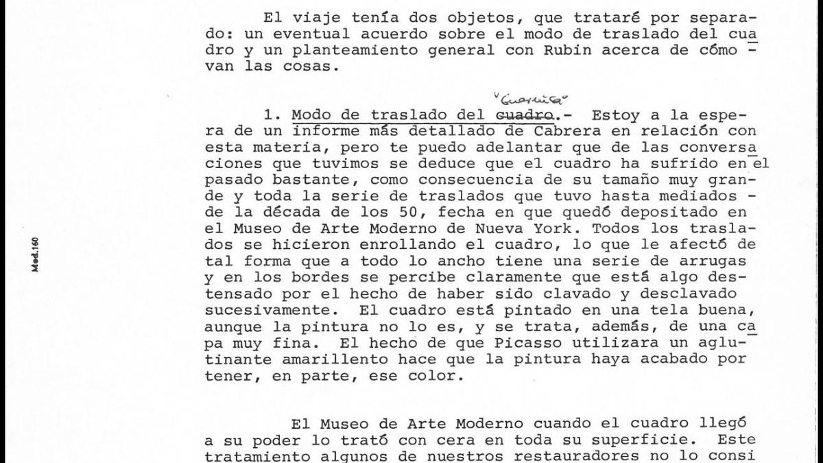 Javier Tusell's report on negotiations for the transfer of Guernica