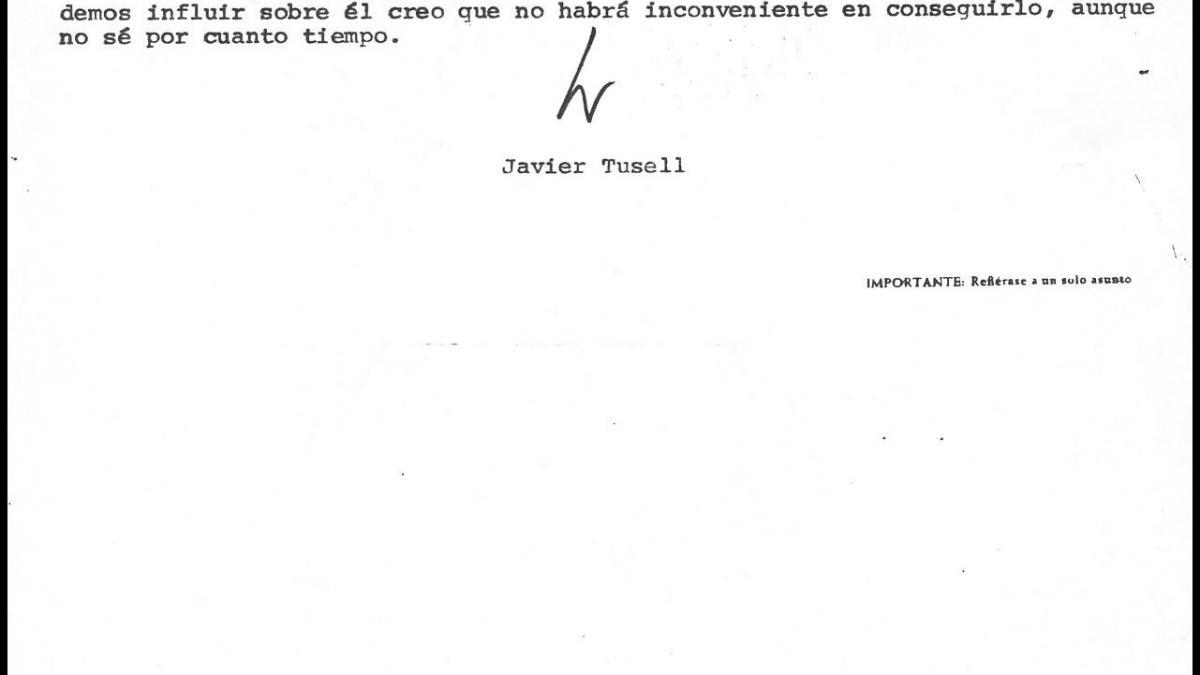 An internal letter from Javier Tusell to Íñigo Cavero