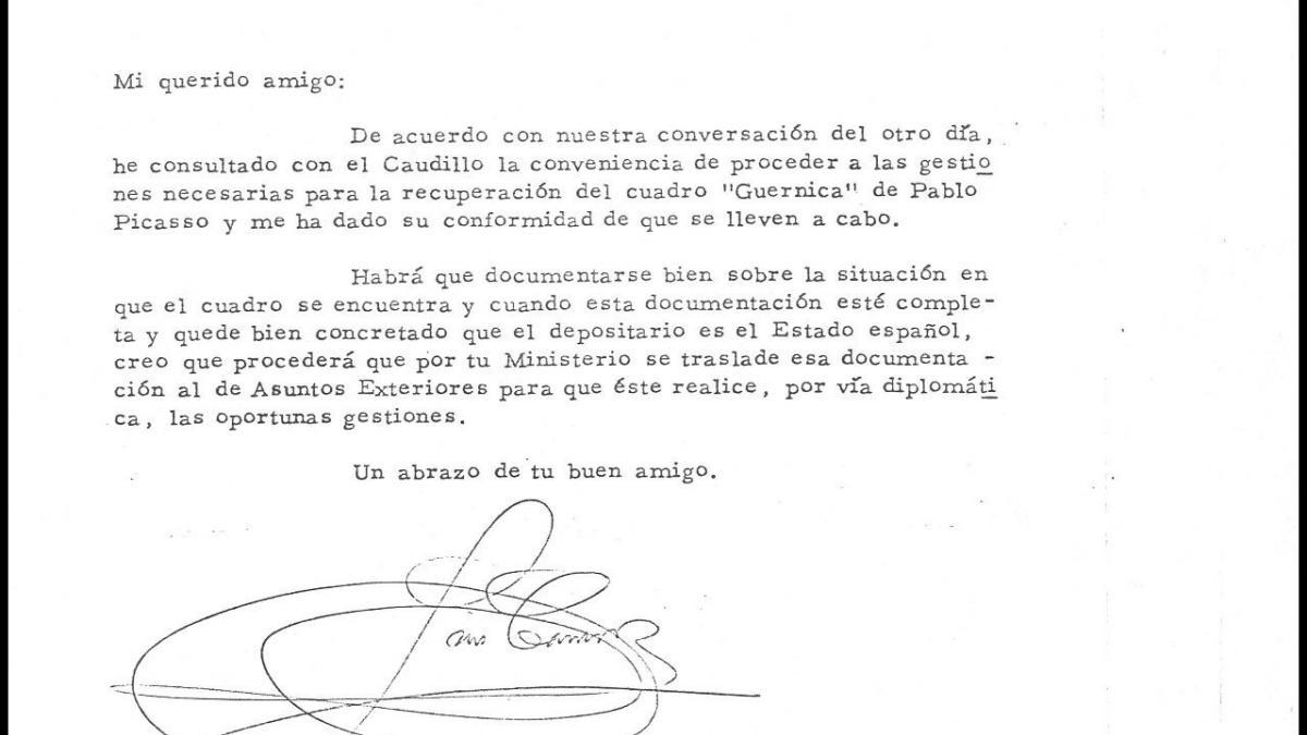 Carta de Luis Carrero Blanco a Florentino Pérez Embid