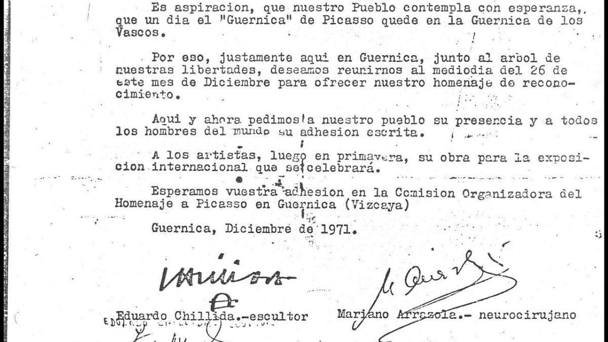 Llamamiento a participar en el homenaje a Pablo Picasso en Gernika
