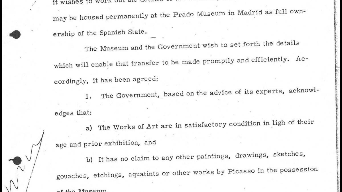 Convenio entre el Gobierno Español y el Museum of Modern Art de Nueva York redactado por abogados del Museo del Prado