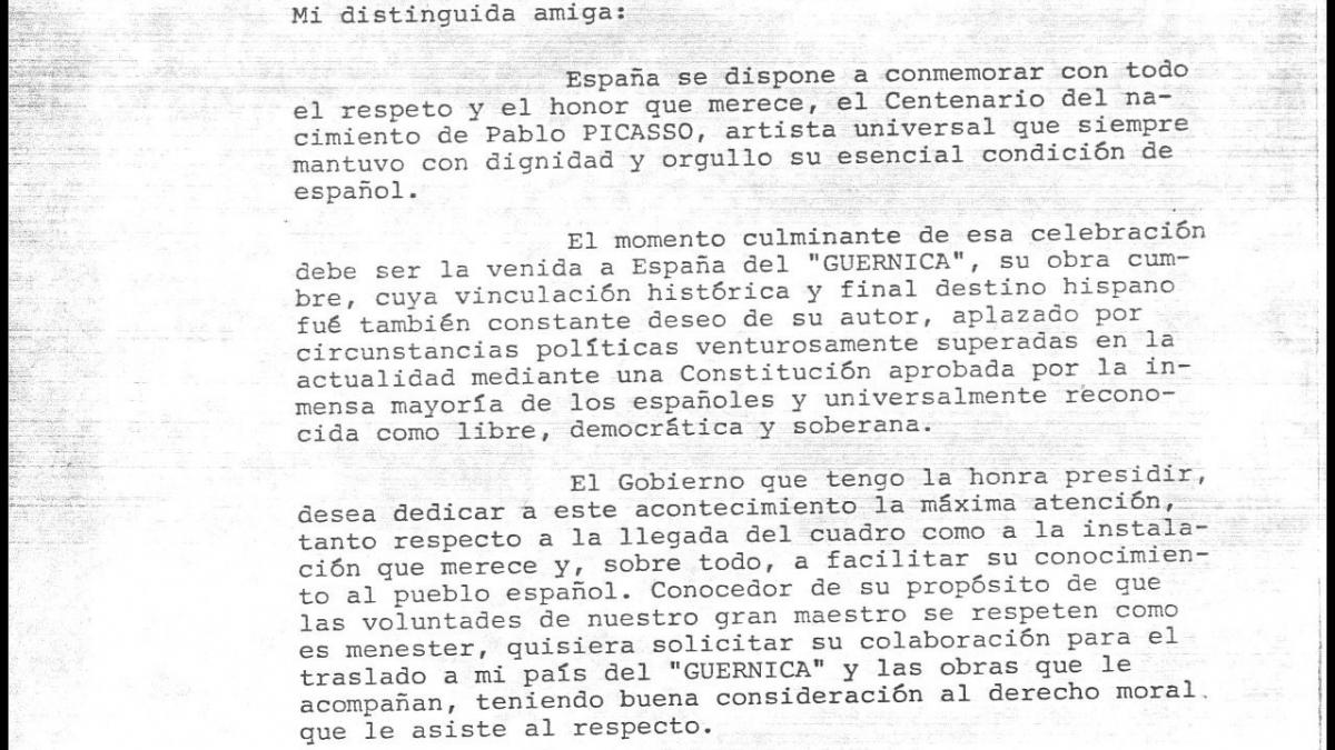 Cartas de Adolfo Suárez a los herederos de Picasso