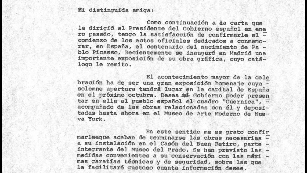 Cartas de Íñigo Cavero a los herederos de Pablo Picasso del 30 de junio de 1981