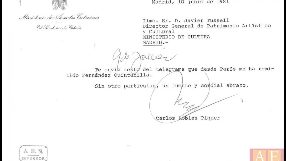 Nota de Carlos Robles Piquer a Javier Tusell