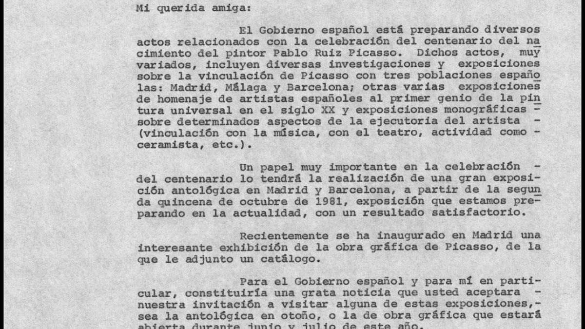 Cartas de Íñigo Cavero a los herederos de Pablo Picasso del 13 de junio de 1981