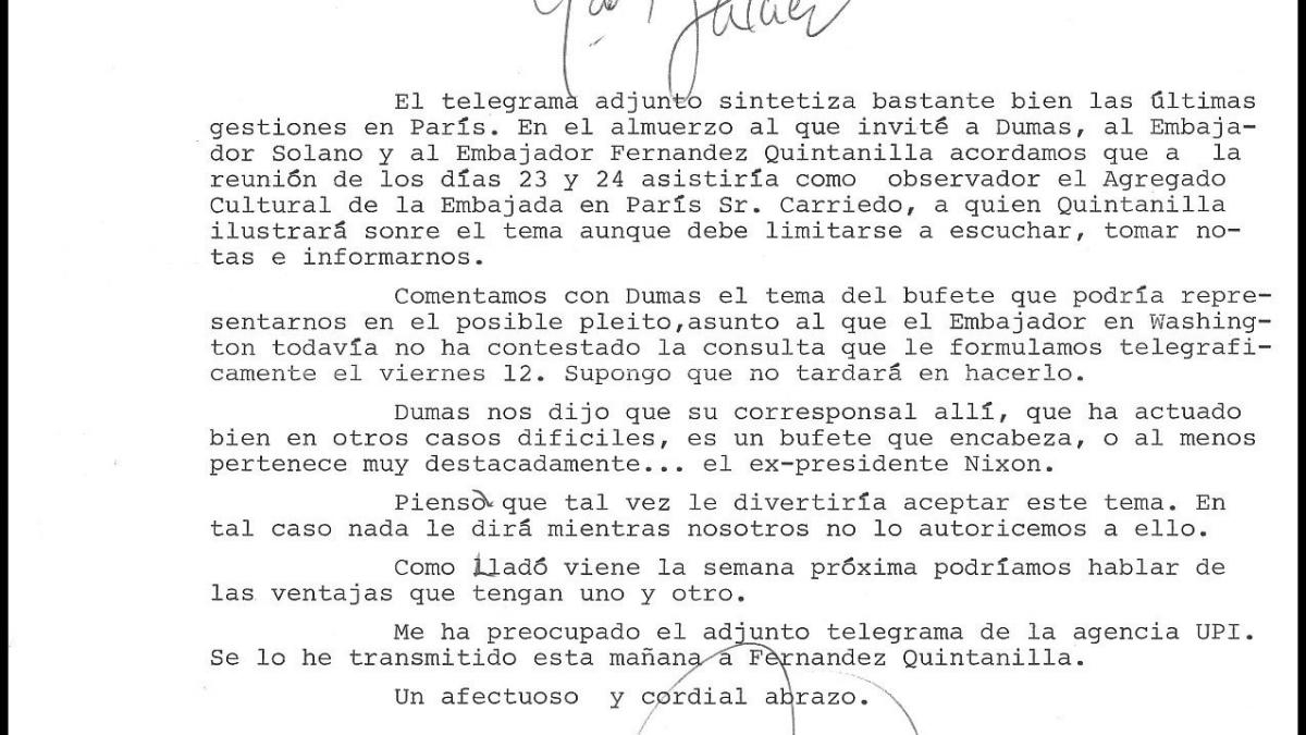 Carta de Carlos Robles Piquer a Javier Tusell del 19 de junio de 1981