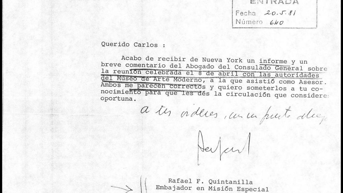 Carta de Rafael Fernández Quintanilla a Carlos Robles Piquer