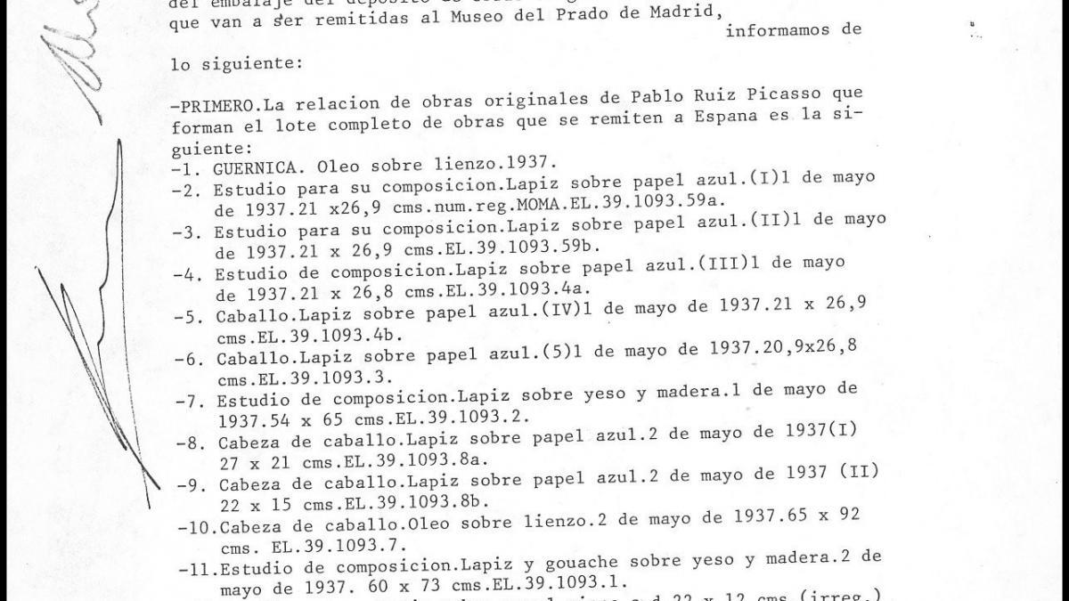 Inventario e informe de conservación de las obras que se recogen en el Museum of Modern Art de Nueva York para enviar a España