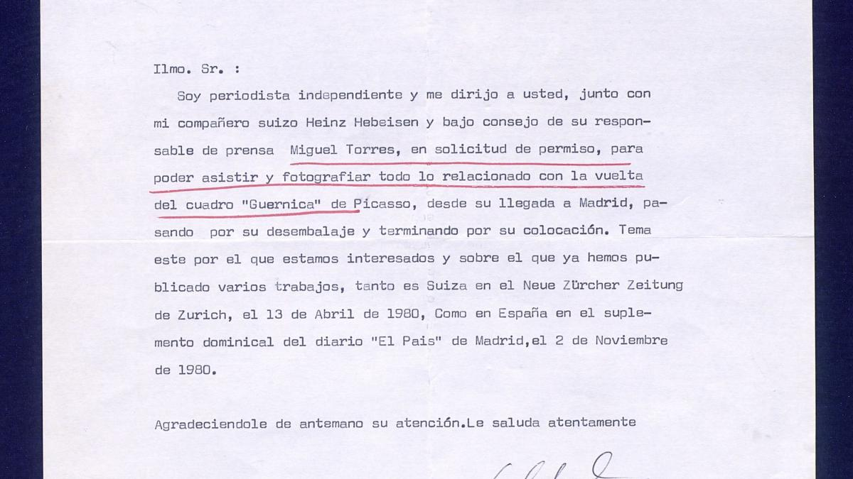 A letter from Enrique Calduch to Javier Tusell