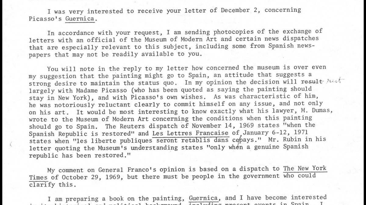 Carta de José Mario Armero a Herschel B. Chipp y respuesta
