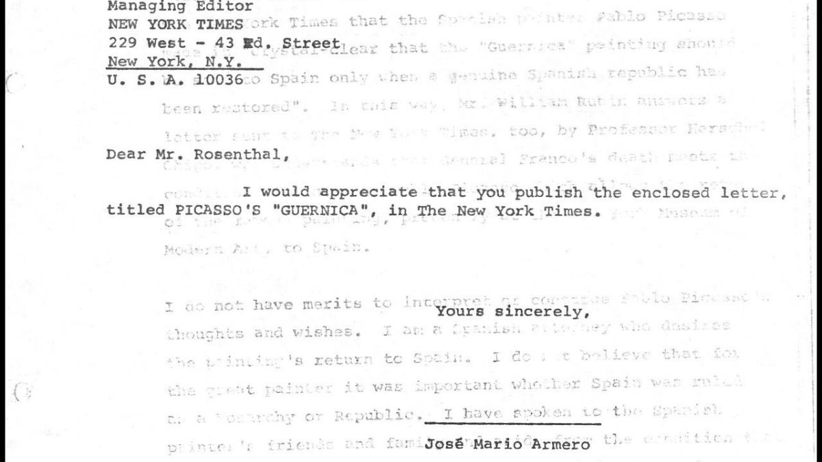 Carta de José Mario Armero a M. Rosenthal