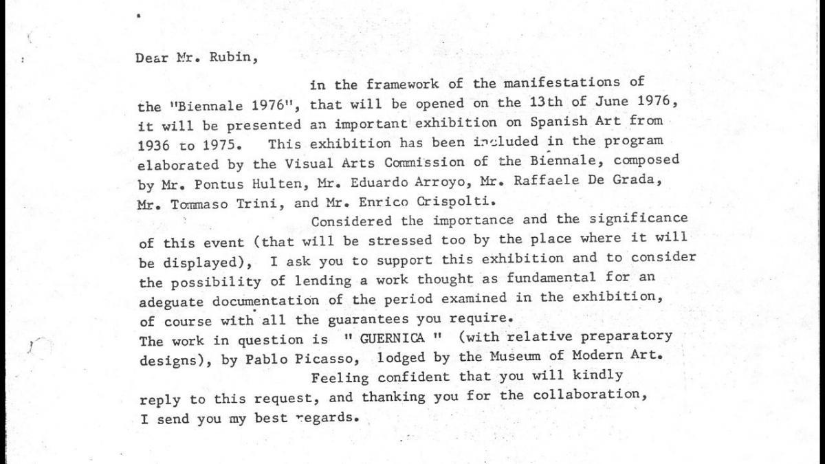 Carta de Carlo Ripa di Meana a William Rubin