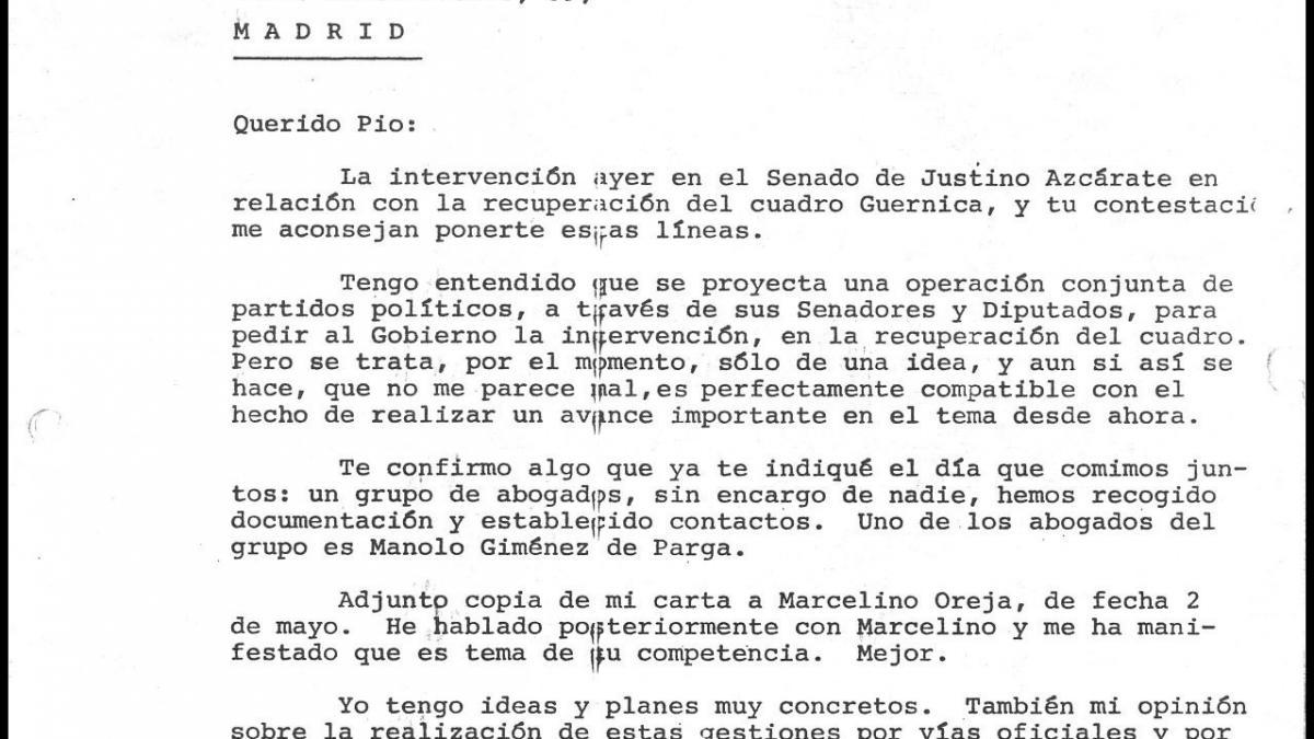 Carta de José Mario Armero a Pío Cabanillas