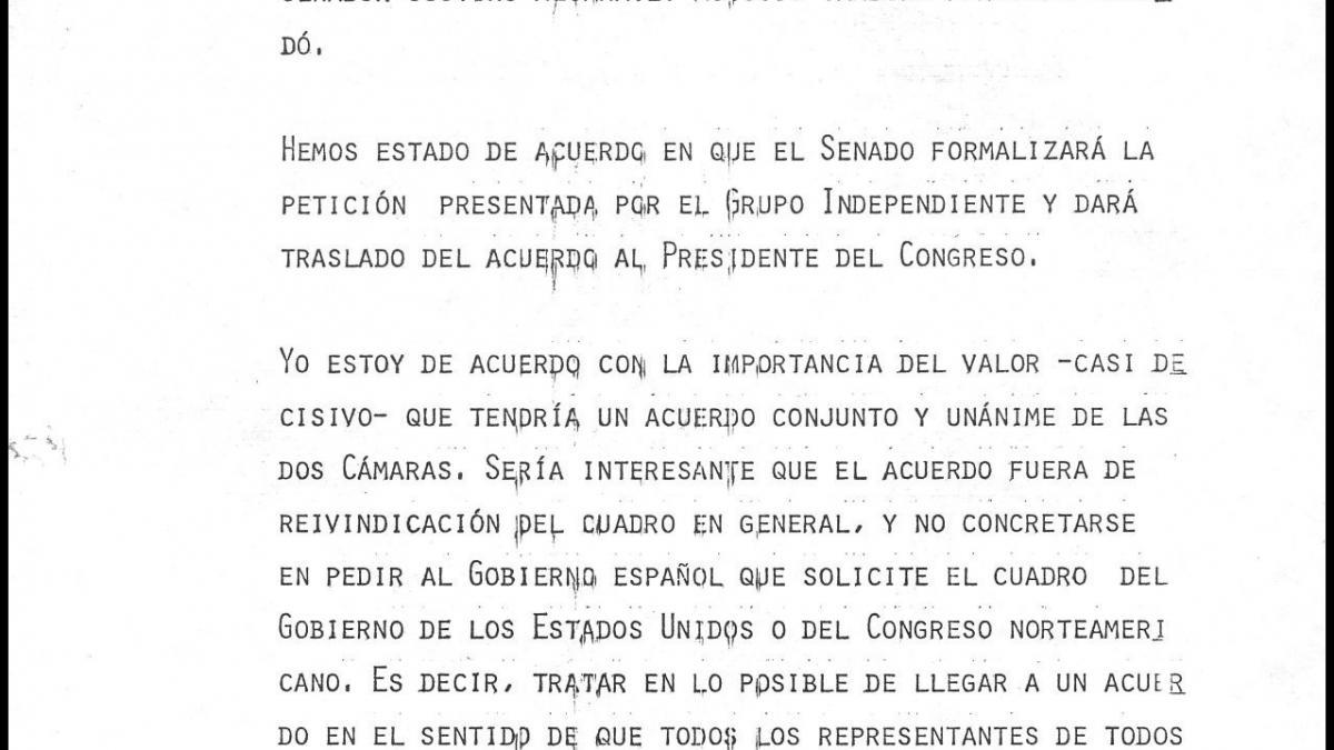 A letter on Guernica by José Mario Armero for the Culture minister, Pío Cabanillas