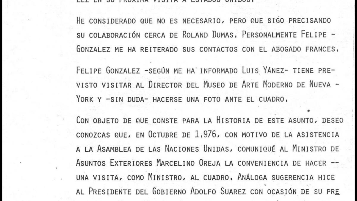 Nota de José Mario Armero para Pío Cabanillas del 8 de noviembre de 1977
