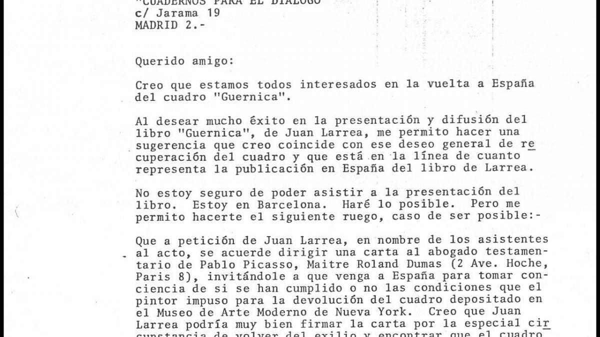 Carta de José Mario Armero a Javier Gómez Navarro