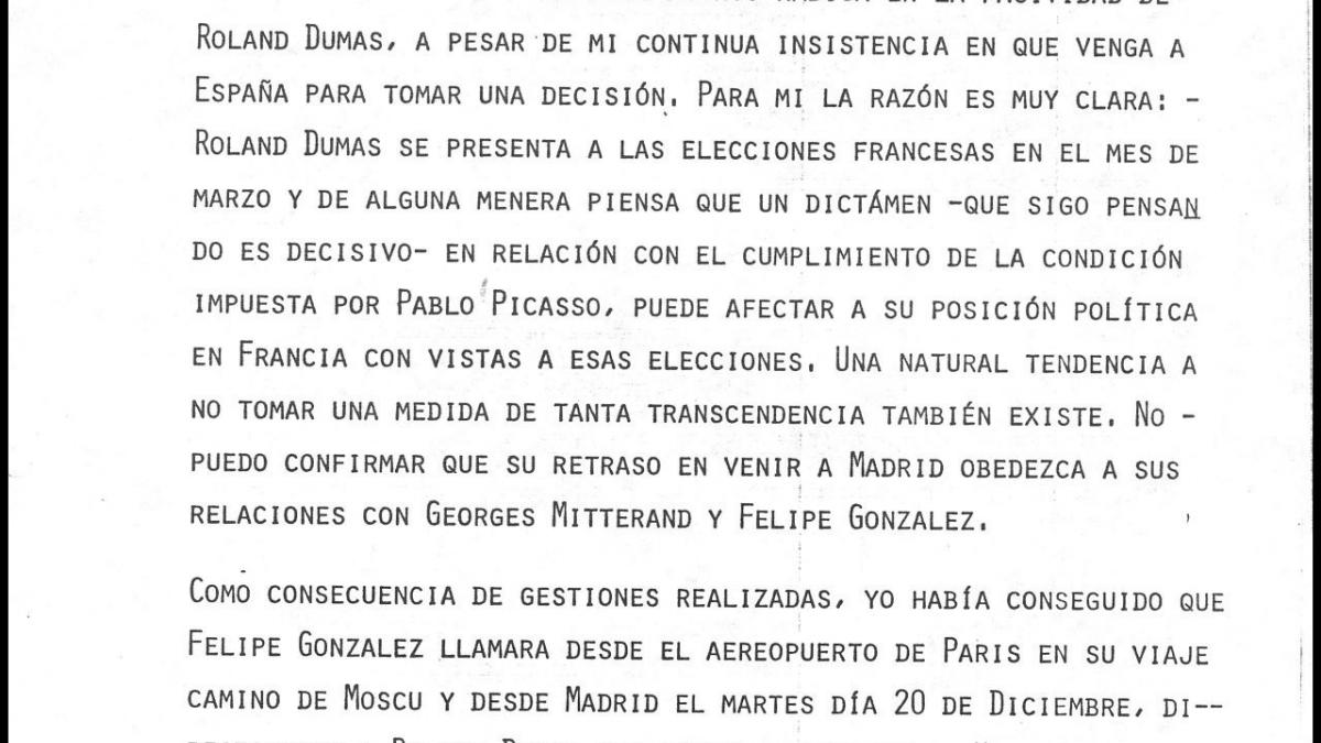 A letter from José Mario Armero to Pío Cabanillas, dated 28 December 1977
